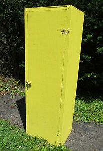 Sale Vintage Antique Wooden Yellow Painted Cabinet Pantry Old Gun Cabinet