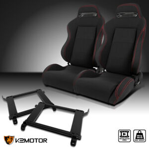 For 1990 1993 Acura Integra Black Cloth Red Stitching Racing Seats Brackets X2