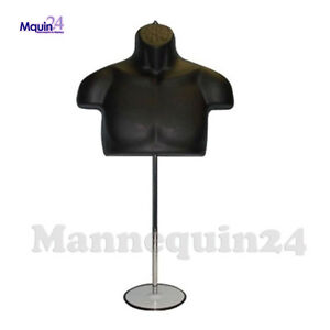 Male Torso Mannequin Form Black W Metal Base