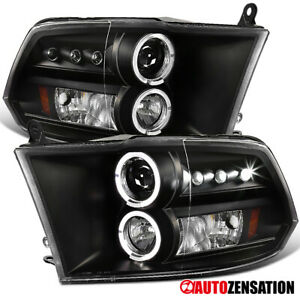 For 2009 2018 Dodge Ram Black Clear Led Drl Halo Rims Projector Headlights Lamps