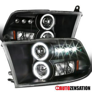 For 2009 2018 Dodge Ram Black Led Drl Halo Rims Projector Headlights Lamps