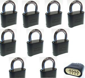 Combination Lock Set By Master 178dblk lot Of 9 Resettable Brass Insert Black