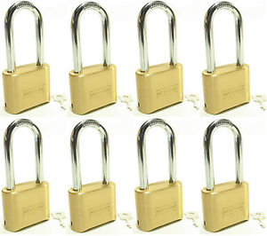 Lock Brass Master Combination 175lh lot Of 8 Long Shackle Resettable Secure