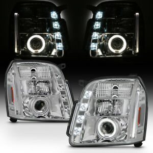 2007 2013 Gmc Yukon Denali Led Running Drl Halo Projector Headlights Headlamps
