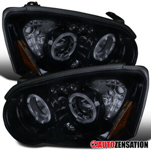 For 2004 2005 Subaru Impreza Glossy Black Smoke Led Halo Projector Headlights