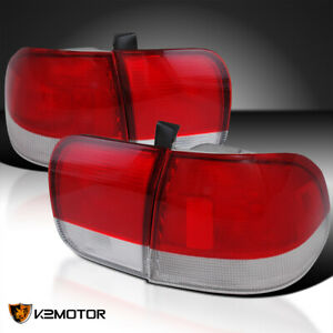 For 1996 1998 Honda Civic 4dr Red Clear Tail Lights Depo Sedan