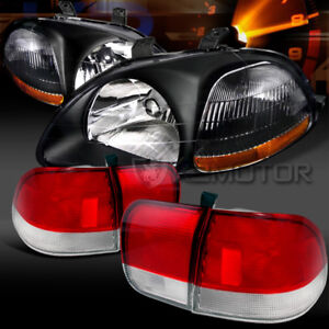 For 96 98 Honda Civic 4dr Sedan Black Headlights Red Clear Tail Brake Lamps