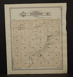 Iowa Crawford County Map Stockholm Township 1908 L13 04