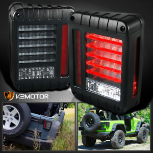 Black 2007 2017 Jeep Wrangler Full Led Bar Tail Lights Rear Brake Lamps Pair
