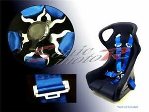 Sonic Motor 5 Point Racing Seat Belt Safety Harness With Camlock Cam Lock Blue