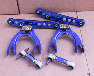 Gn2 Blue Front Rear Upper Lower Control Arm Camber Suspension Kit Civic 92 95 Eg