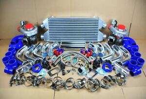 Diy Twin Turbo Kit Chrome Intercooler Pipe Blue Coupler For Mitsubishi 3000gt V6