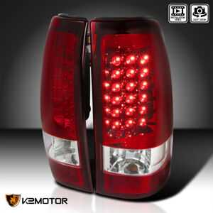 Red 2003 2006 Chevy Silverado Led Tail Brake Lights Rear Lamps Left right
