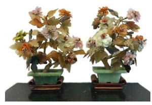 Pair Of Vintage Chinese Agate Quartz Jade Blossom Trees On Wood Stands