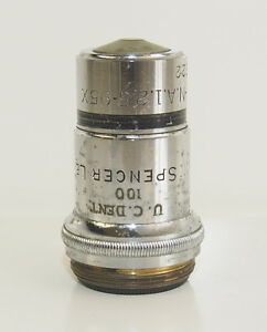Spencer Lens Co H o m 1mm 1 8mm N a 1 25 95x Microscope Objective