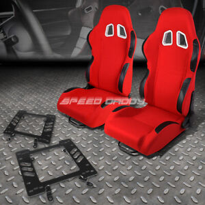 2x Black Red Cloth Reclinable Sport Racing Seat Bracket For 79 98 Ford Mustang