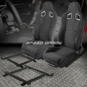 2x Black Suede Reclinable Type r Racing Seat low Mount Bracket For 99 04 Mustang