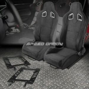 Pair Of Black Suede Reclinable Type r Racing Seat bracket For 79 98 Ford Mustang