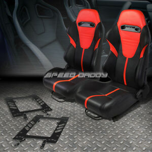 2x Black Pvc Reclinable Red Headrest Racing Seat bracket For 79 98 Ford Mustang