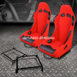 Black red Cloth Bucket Type r Racing Seat bracket For 92 00 Civic integra 2 4dr