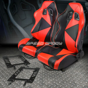 Pair Black Red Pvc Triangle Pattern Racing Seat Bracket For 79 98 Ford Mustang