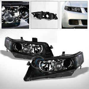 Blk Housing Projector Head Lights Corner Signal Lamps Nb 2004 2008 Acura Tsx Cl9