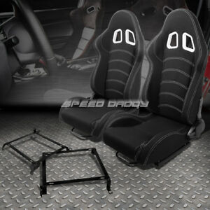 Black Cloth Reclinable White Dual Stitch Racing Seat bracket For 88 91 Honda Crx