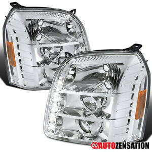 For 07 14 Gmc Yukon Xl Denali Projector Headlights Head Lamps Replacement Led