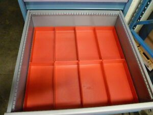 8 6 X 12 X 2 Red Plastic Boxes For Vertical Lift Storage System Bins Trays