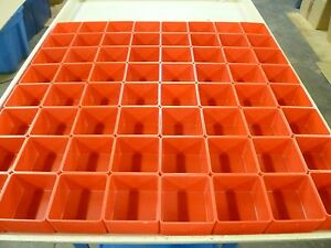 64 3 x3 x2 Red Plastic Boxes For Vertical Lift Storage System Bins Trays Cups