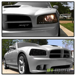 Smoke 2006 2010 Dodge Charger Drl Led Headlights W Built In Corner Signal Lights