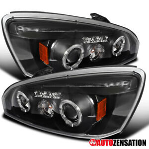 04 07 Chevy Malibu Black Led Dual Halo Projector Headlight Pair