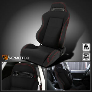 driver Side red Stitching Black Cloth Reclinable Racing Seat Left W Silders