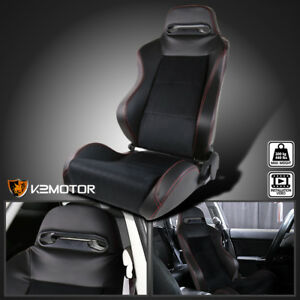 Driver Side Leather Jdm Red Stitch Pvc Suede Recaro Style Racing Seat