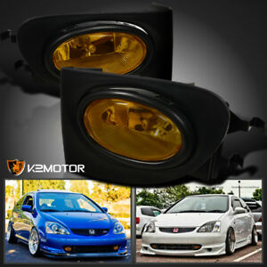 For 02 05 Honda Civic 3dr Si Amber Fog Lights Yellow Driving Lamps switch