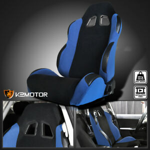 Driver Black Light Blue Fabric Cloth Reclinable Sports Racing Seat W Sliders