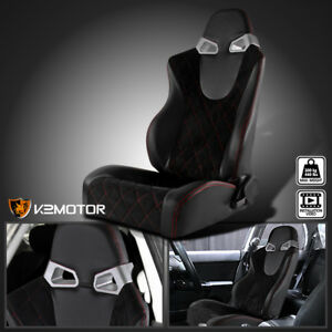 driver Side suede Pvc Leather Jdm Red Check Pattern Stitch Black Racing Seat