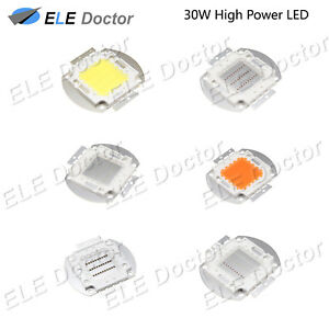 30w Watts High Power Smd Led Cob Chip Lights Beads White Red Blue Uv Lamp Board