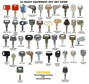 42 Keys Heavy Equipment Construction Ignition Key Set Case Cat Komatsu Deere