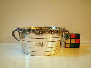 Meriden B Company Usa Silver Plate Wine Cooler Bucket Grapes Vines Decorated