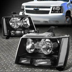 For 07 14 Chevy Tahoe Suburban Black Housing Clear Corner Headlight Head Lamps