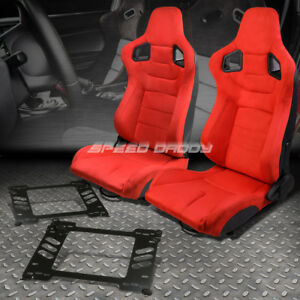 Pair Red Suede Rear Carbon Fiber Look Racing Seat Bracket For 91 95 Honda Civic
