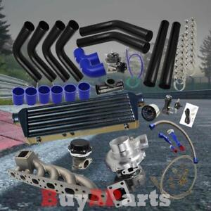 Black Intercooler Piping Blue Couplers Turbo Kit For Bmw E36 E46 2 5 2 8 3 0l
