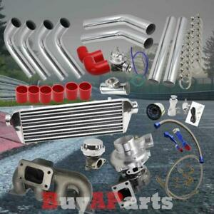 Diy Chrome Intercooler Piping Red Couplers Turbo Kit For 01 05 Civic Sohc D17