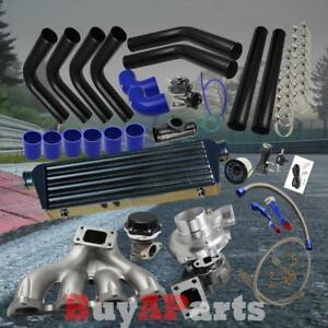 Black Intercooler Piping Blue Couplers Turbo Kit For 88 00 Honda Civic D15 D16