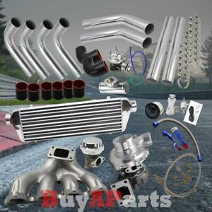 Diy Chrome Intercooler Piping Black Couplers Turbo Kit For 88 00 Civic D Series