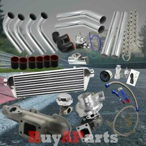 Chrome Intercooler Piping Black Couplers Turbo Kit For 1995 1999 Eclipse 420a