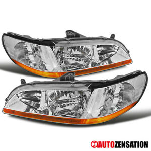 For 98 02 Honda Accord Ex Lx Dx Se Jdm Chrome Front Headlights Amber Reflector