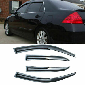 For 03 07 Honda Accord 4 Door Sun Window Visor Dark Smoke 1 6mm Slim Style 4pcs