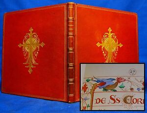 Illuminated Manuscript 1899 Antique Original Hand Painted Bible Miniatures Pray